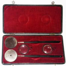 Liebreich Military Ophthalmoscopes1910. Includes 2 condensing lenses.